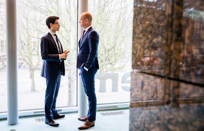 Rob Jetten (D66) en Gert-Jan Segers (ChristenUnie) vorig jaar in de Tweede Kamer.
