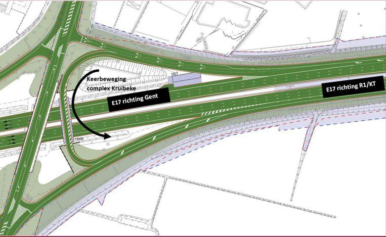 Omdat de op- en afrit in Zwijndrecht sluit, zal verkeer een keerbeweging moeten maken aan het complex in Kruibeke via een tijdelijke brug.