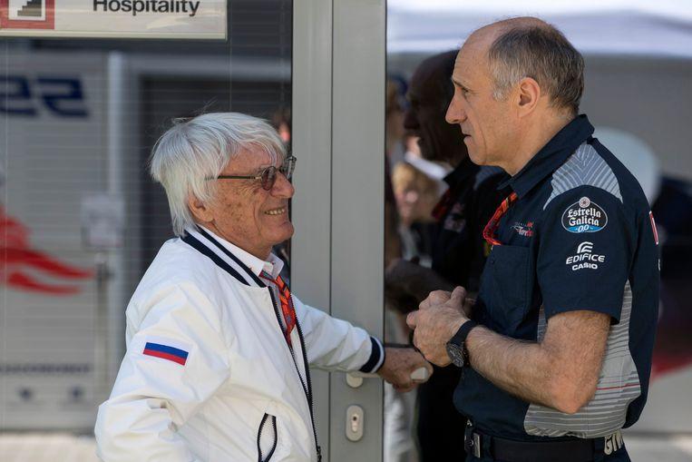 Ecclestone met Franz Tost van het Scuderia Toro Rosso Team twee weken geleden in Sochi. Beeld Photo News