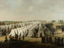 Het kamp te Rijen in 1831. De belangrijkste macht van het Nederlandse leger trok van hieruit naar België. De Tiendaagse Veldtocht was de laatste officiële oorlog van Nederland. Op het anonieme schilderij is het dagelijkse leven weergegeven, zoals het ook beschreven is in het boekje van J. Ovenbeek uit 1839.
