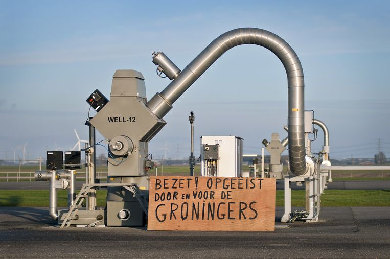 Actievoerders van Schokkend Groningen protesteerden vorig jaar op een gaswinningslocatie van de Nederlandse Aardolie Maatschappij (NAM) bij het dorp 't Zandt bezet. Beeld anp