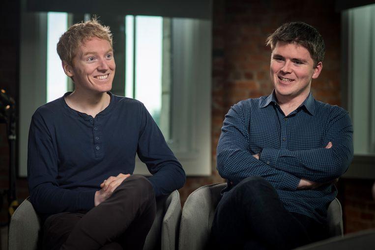 Patrick en John Collison, de oprichters van de almaar groeiende betaaldienstverlener Stripe.   Beeld Bloomberg via Getty Images