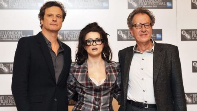 Colin Firth, Helena Bonham Carter en Geoffrey Rush leden van de cast van The King's Speech. EPA Beeld