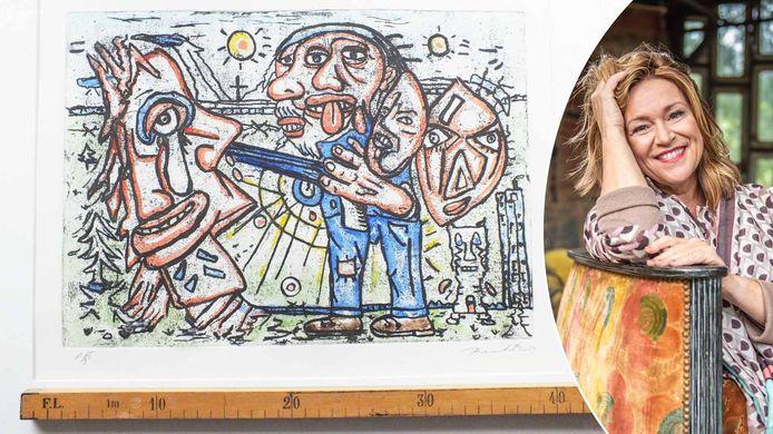 Links: een van de werken die we lieten schatten bij kunstdealer Bie Baert (rechts).