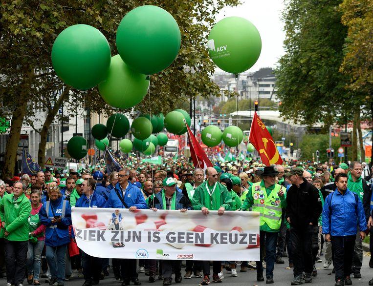 Vakbondsbetoging in Brussel Beeld Photo News