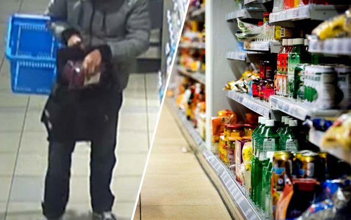 Ter Illustratie: schap van een supermarkt met een videostill van camerabeelden die afgelopen week werden gedeeld door de politie Deventer. Op deze beelden staat een winkeldief die in een halfjaar tijd voor ruim 1.200 euro aan vleesproducten stal.