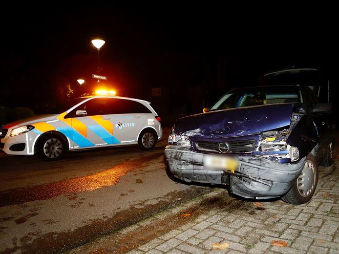 Een van de auto's die total loss raakte bij het ongeluk
