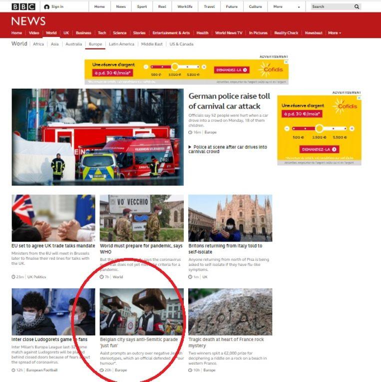 Het artikel over Aalst Carnaval staat bijna 24 uur na publicatie nog steeds prominent op de World-pagina van BBC News.