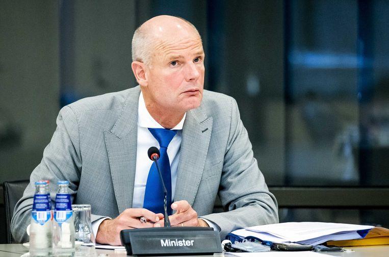 Minister Stef Blok (Buitenlandse Zaken) tijdens een overleg over onder meer de onrust in Wit-Rusland. Beeld ANP