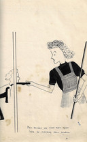 Zelfportret van Riet Hoogland als gangloopster in het Oranjehotel, ca. 1942. Spotprent Oranjehotel. Getekend door Riet Hoogland, Enschede.