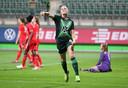 Dominique Bloodworth scoorde twee keer namens VfL Wolfsburg tegen FC Twente.
