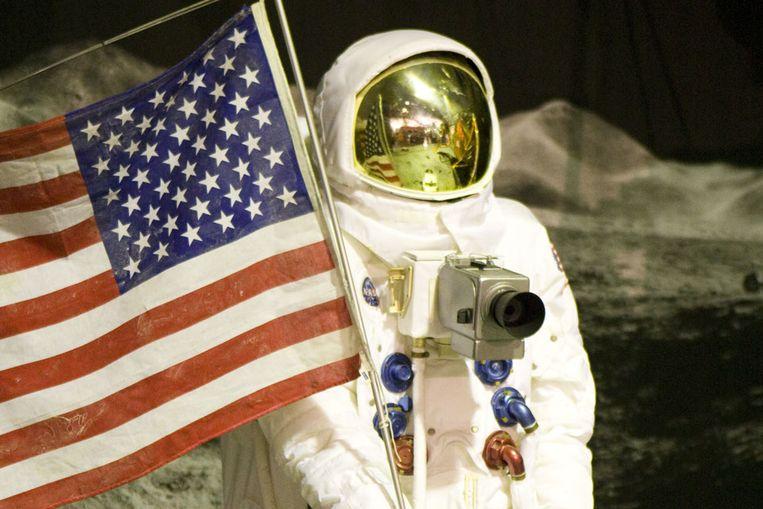De Amerikaanse maanlanding, nagebootst in Space Expo in Noordwijk. (ANP) Beeld