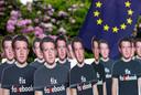 Actievoerders protesteerden in Brussel toen Facebook-ceo Mark Zuckerberg daar in 2018 acte de présence gaf.