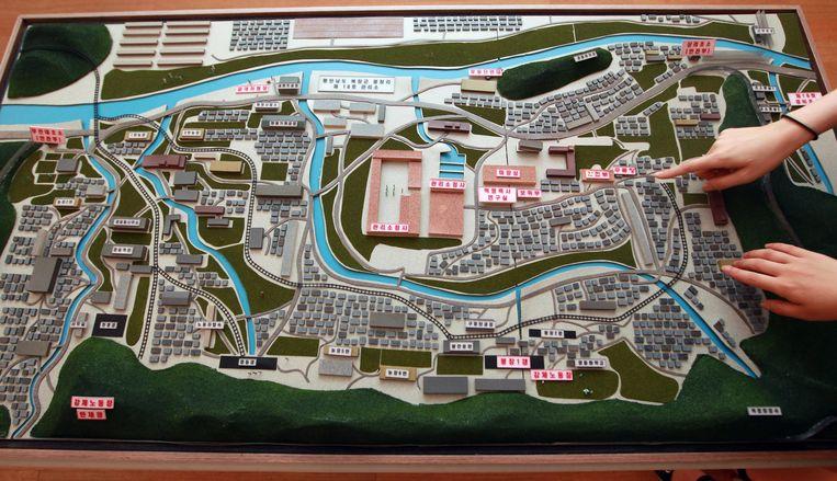 Model van een Noord-Koreaans gevangenkamp, gemaakt op basis van de verklaringen van een ontsnapte gevangene. Beeld EPA