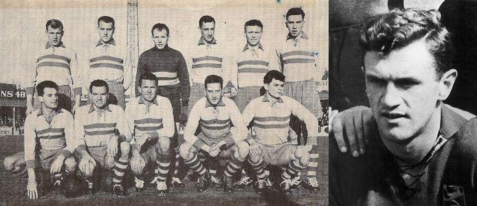 Jef Mermans (midden, onderste rij) in zijn OLSE Merksem-periode eind jaren '50. (Inzet een jongere Mermans bij de Rode Duivels)