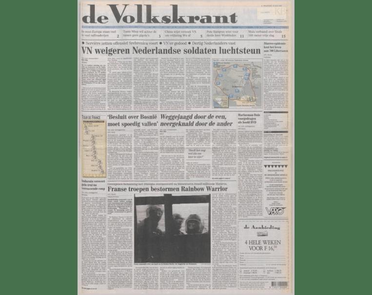 De voorpagina van 10 juli 1995. Beeld