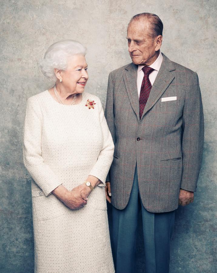 Het koppel tijdens hun platinum huwelijksverjaardag in 2017.