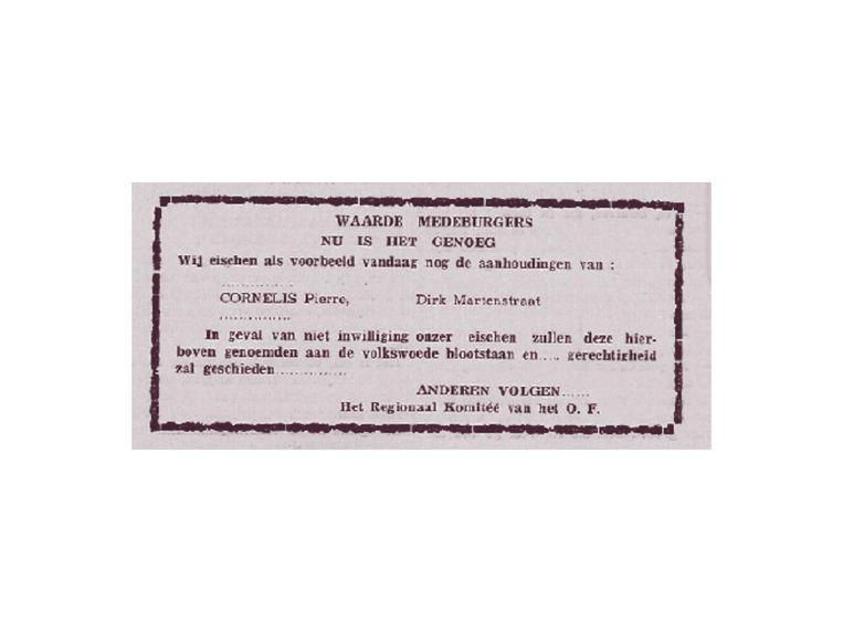 Met dit aanplakbiljet werd duidelijk dat iemand het op Pierre Cornelis gemunt had.  Beeld rv