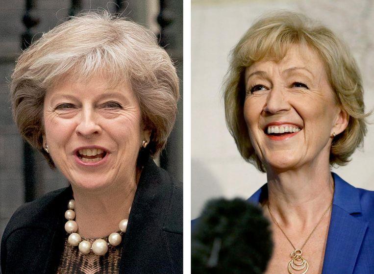 Theresa May (links) en Andrea Leadsom. Beeld ap