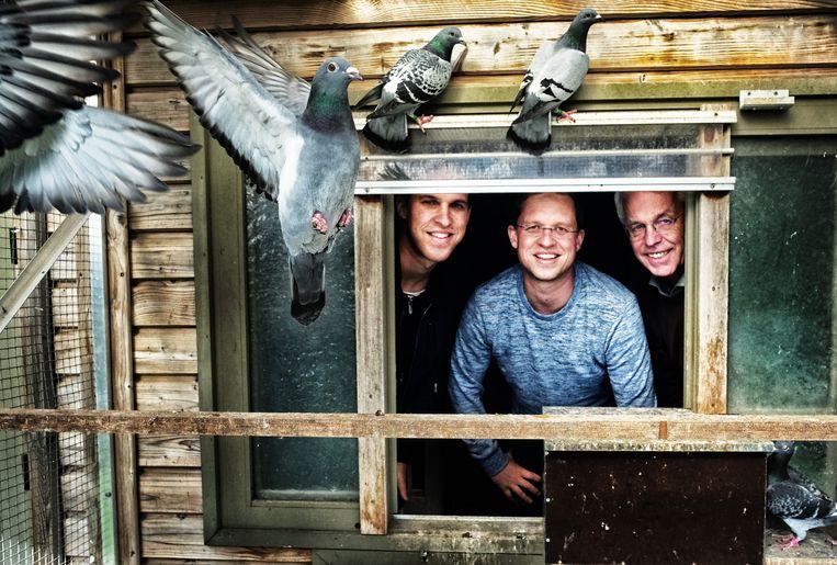 Thomas (l), Nikolaas en vader Carlo Gyselbrecht. Nikolaas is wereldwijd marktleider in de onlineverkoop van sportduiven. Beeld Tim Dirven
