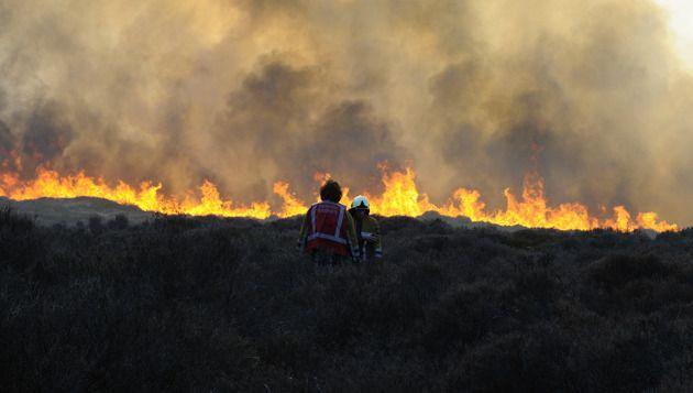 Brandweerlieden zijn bezig met de bestrijdig van de brand in duingebied tussen Schoorl en Bergen aan Zee. © ANP