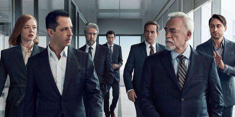 De familie Logan om wie Succession draait.  Beeld HBO