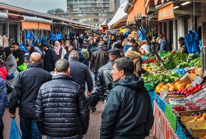 Drukte op de Haagse Markt, vorige week maandag.