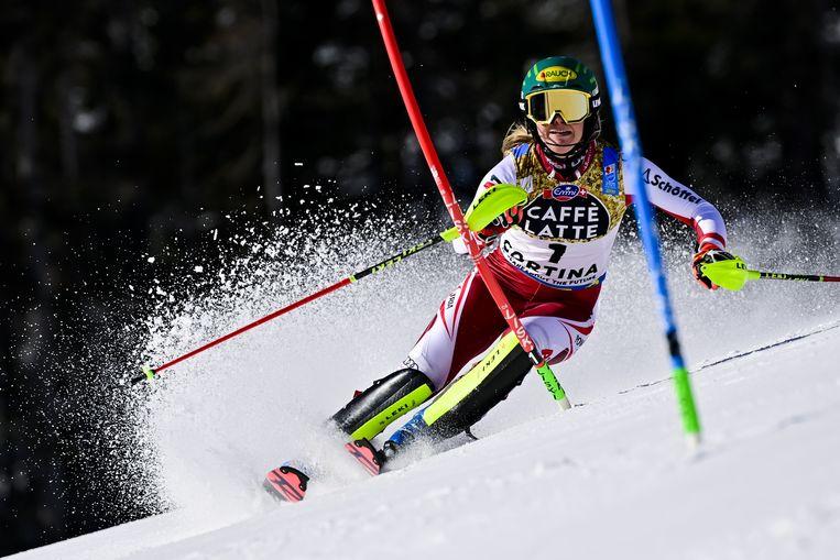 Katharina Liensberger in actie.  Beeld EPA