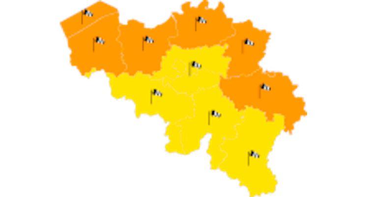 Het KMI waarschuwt voor code oranje in het westen van het land en in provincies die grenzen aan Nederland en Duitsland. Beeld KMI