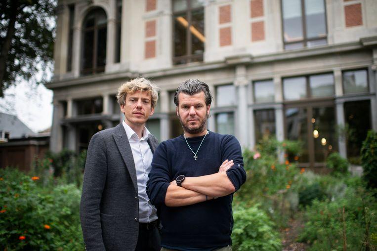 Joachim Boudens (l.) en Gert De Mangeleer: 'Het nieuwe restaurant wordt kleinschalig, intiem. Zo zullen we hier meer zelf kunnen doen.'  Beeld Klaas De Scheirder