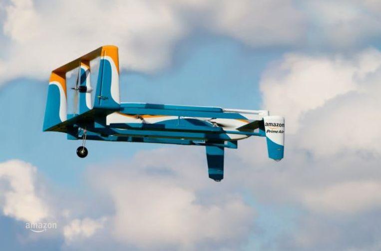 De Amazon Prime Air dat klanten in 30 minuten, of minder, veilig en wel hun pakje moet leveren.
