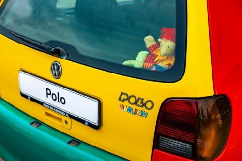 De achterkant van de originele Polo Harlekin.