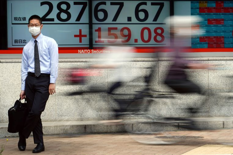 Op straat in Tokio. Op de achtergrond: de laatste stand van beursindex de Nikkei. Beeld AP