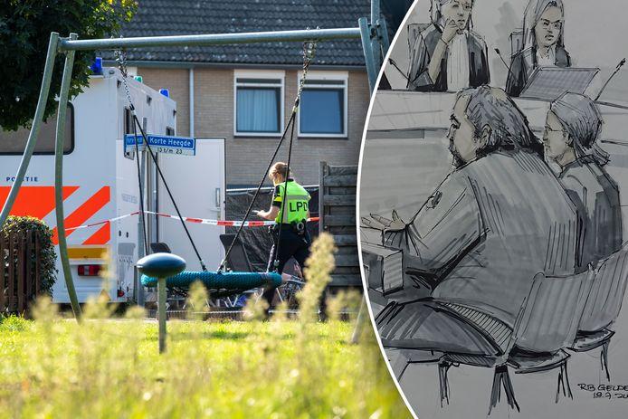Sporenonderzoek bij de woning in Heerde, rechts: verdachte Maikel B. in de rechtbank, geflankeerd door zijn advocaat.