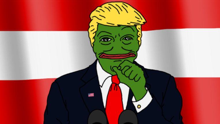 Deze kikker, met typische Trump-kenmerken, vond zijn oorsprong op 4chan, maar ging viraal toen de Republikeinse presidentskandidaat hem retweette. Beeld RV