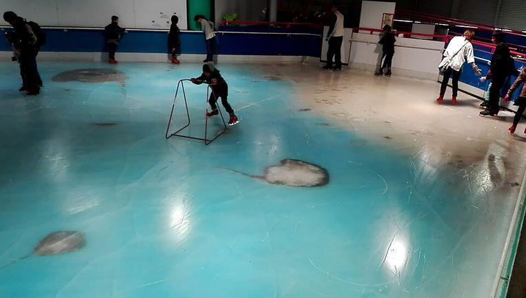 Het Japanse pretpark sloot zijn kunstijsbaan na de ontstane ophef over ingevroren vissen. Beeld AFP