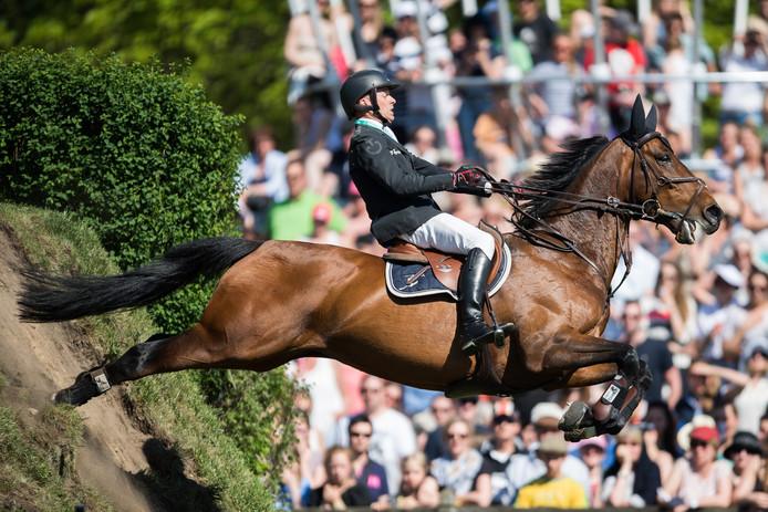 Henrik Lanner uit Zweden en zijn paard Vivaldi in actie bij de GP van Hamburg.