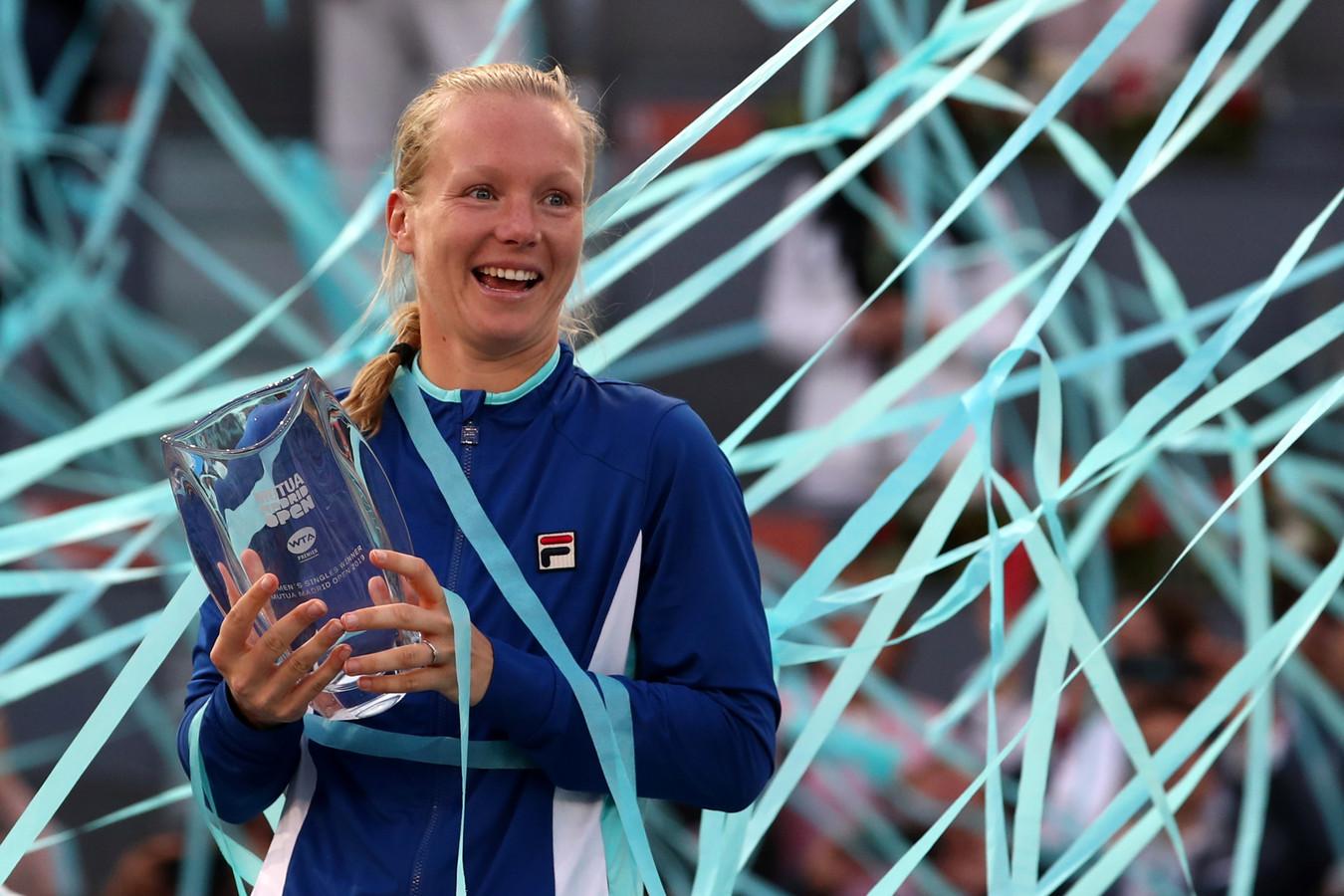 Kiki Bertens na haar grootse zege in 2019 bij het toernooi in Madrid.