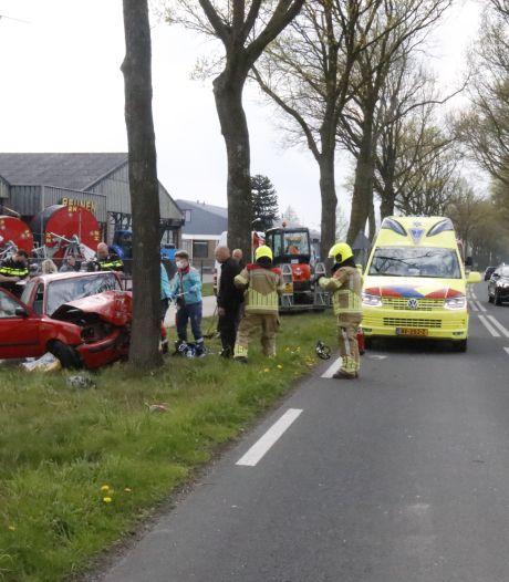 Vrouw en kind bevrijd uit auto na botsing tegen boom in Siebengewald