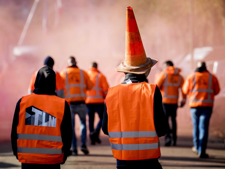 Demonstranten tijdens het bouwersprotest Grond in Verzet op het Malieveld.