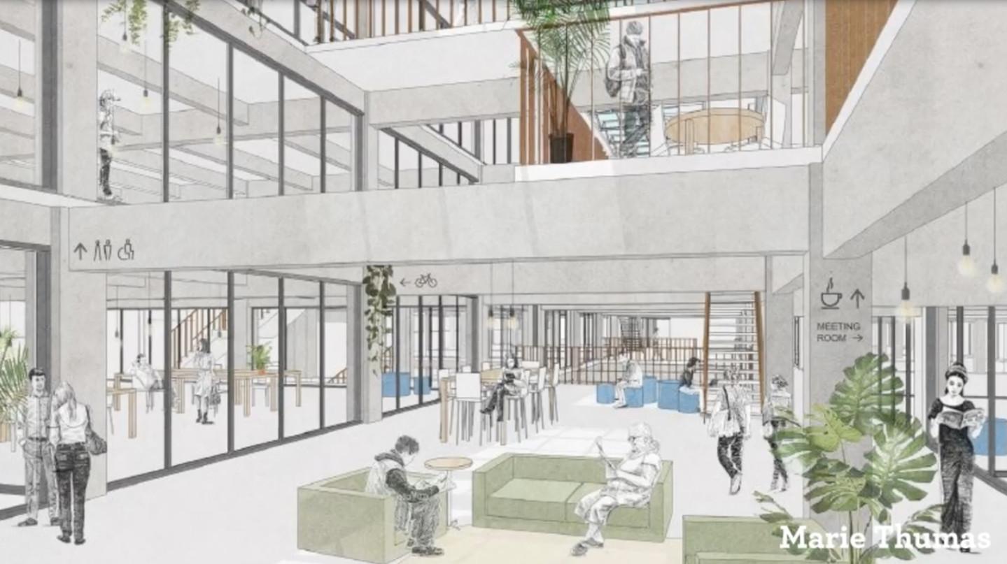 Een eerste schets van hoe het gebouw er binnen zou kunnen uitzien. Er is ruimte voorzien voor wonen, werken en ontspanning.