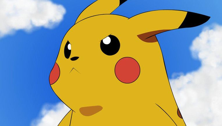Een boze Pikachu. Beeld pokémon