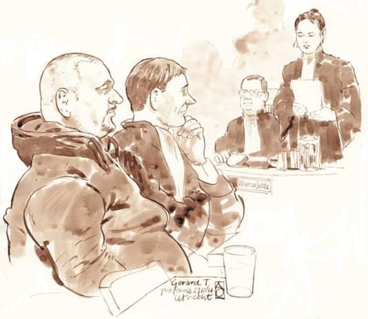 Gerard T. tijdens een eerdere rechtszaak met zijn advocaat Maarten Krikke en de officieren van justitie Daphne van der Zwan en Michael van Leent.