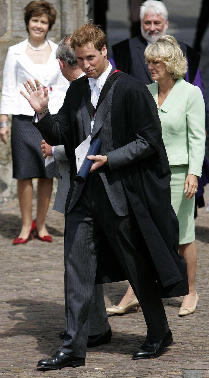 Prins William tijdens zijn afstudeerceremonie.
