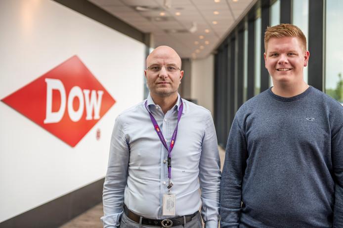 Alberto Cerimele (links) en Enrique de Koeijer bij het hoofdkantoor van Dow.