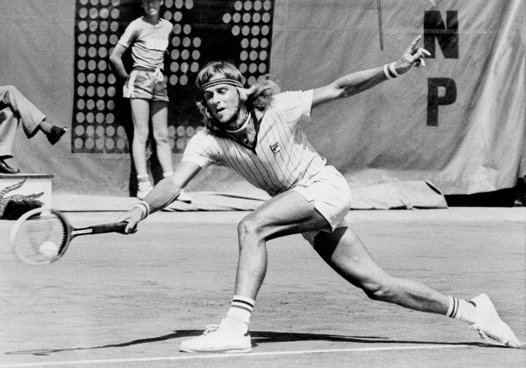 Bjorn Borg in 1976 op Roland Garros. Hij won het toernooi in 1974, 1975, 1978, 1979, 1980 en 1981. Beeld Hollandse Hoogte / AFP