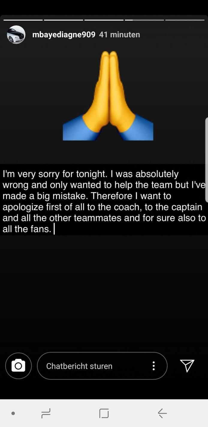Mbaye Diagne a présenté ses excuses sur Instagram.