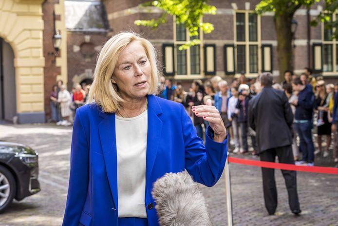 Demissionair minister Sigrid Kaag staat de pers te woord na afloop van de wekelijkse ministerraad op het Binnenhof.