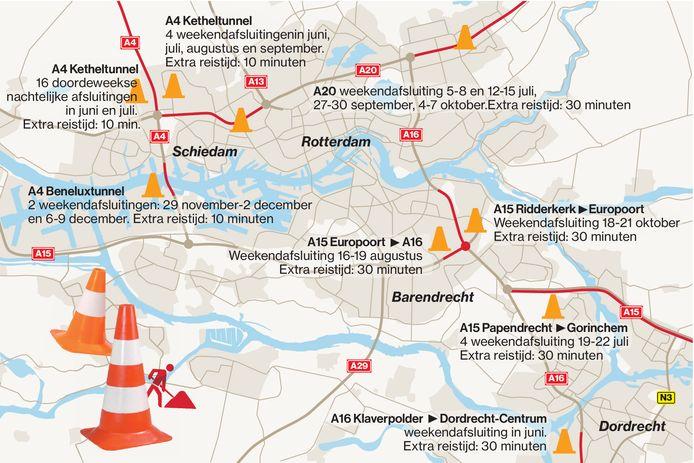 De komende maanden voert Rijkswaterstaat veel grootschalige wegwerkzaamheden uit, met name in de regio's Rijnmond en Drechtsteden.
