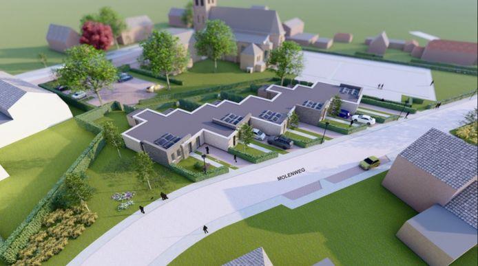 Een indruk van de vijf levensloopbestendige woningen die in de voormalige pastorietuin van de Sint Jan de Doperkerk komen.